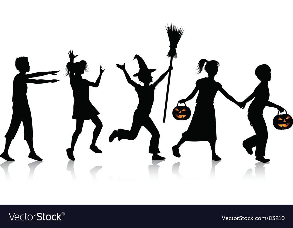 Children playing on Halloween vector image