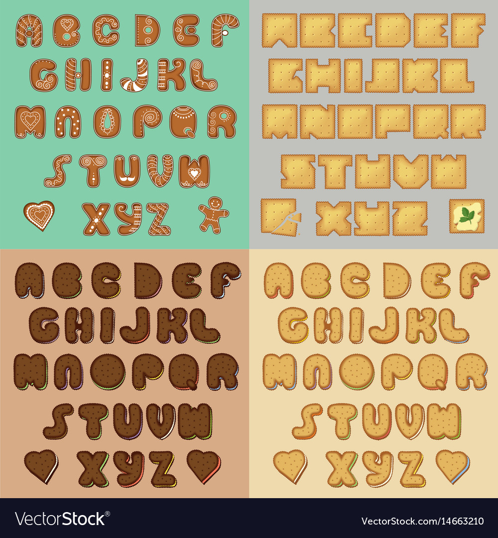 Sweet cookies alphabets artistic font vector image