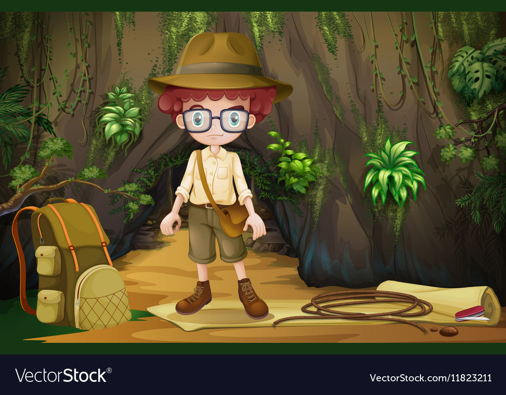 Boy camping out in the cave vector image