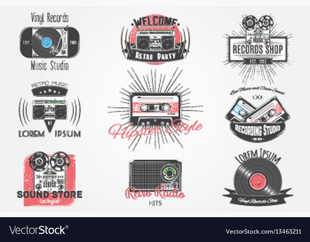 Colorful vintage labels invitation retro music vector image