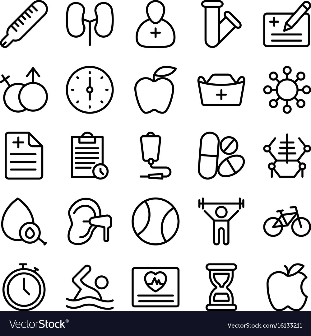 Medical health and hospital line icons 6 vector image