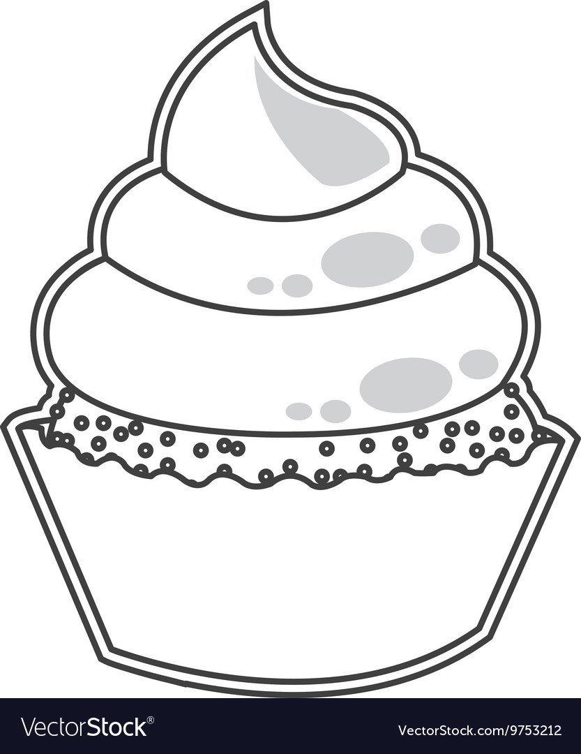 Cute cupcake dessert cake vector image