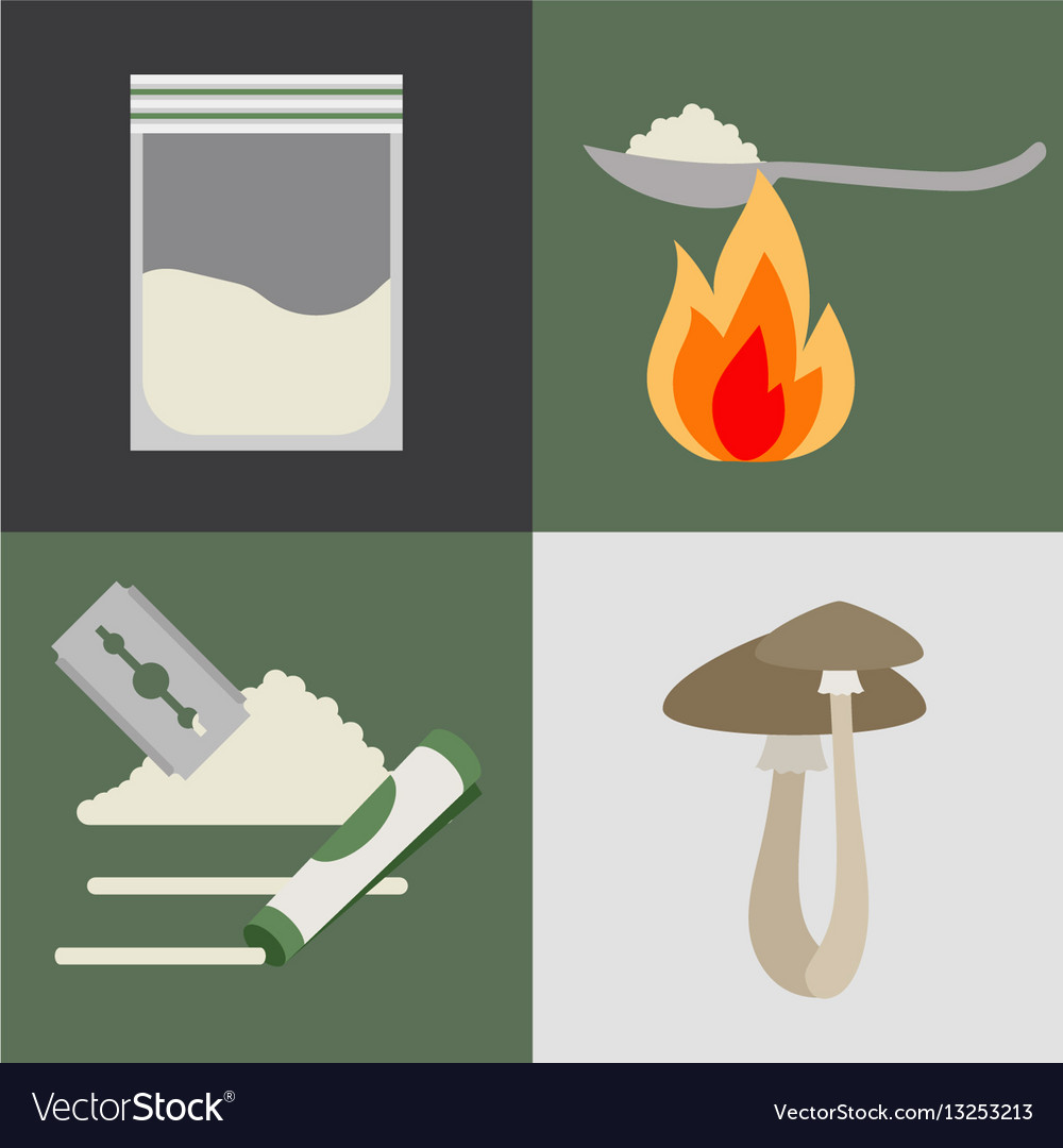 Drugs and mushrooms icons set vector image