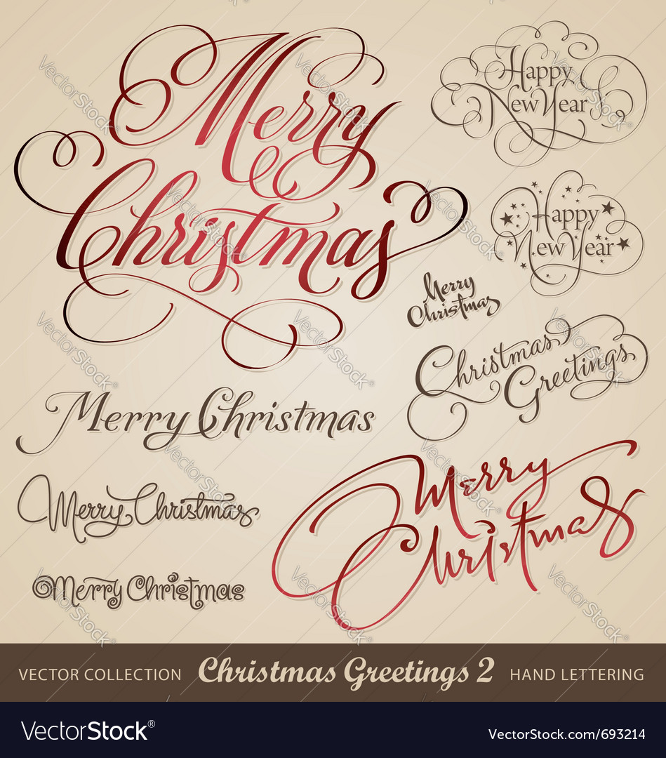 Merry christmas hand lettering set vector image