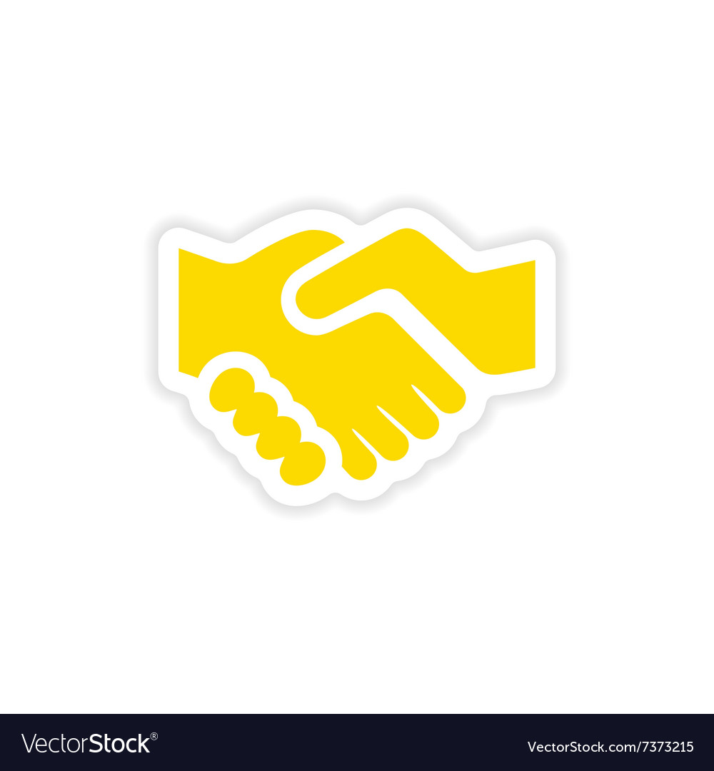 Icon sticker realistic design on paper handshake