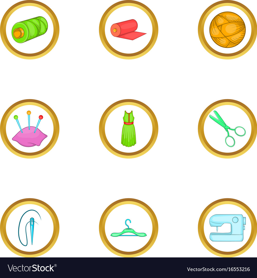 Dressmaking icons set cartoon style vector image
