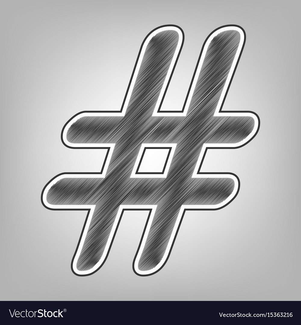 Hashtag sign pencil sketch vector image