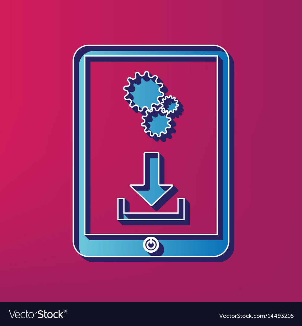 Phone icon with settings symbol blue 3d vector image
