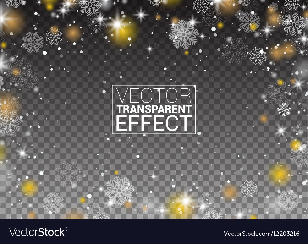 Snowflakes frame snowfall Lights on transparent vector image