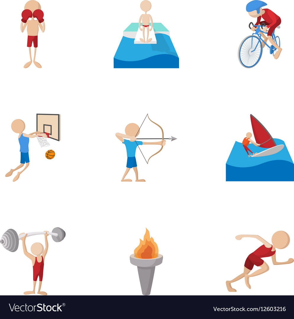 Types of professional sports icons set vector image