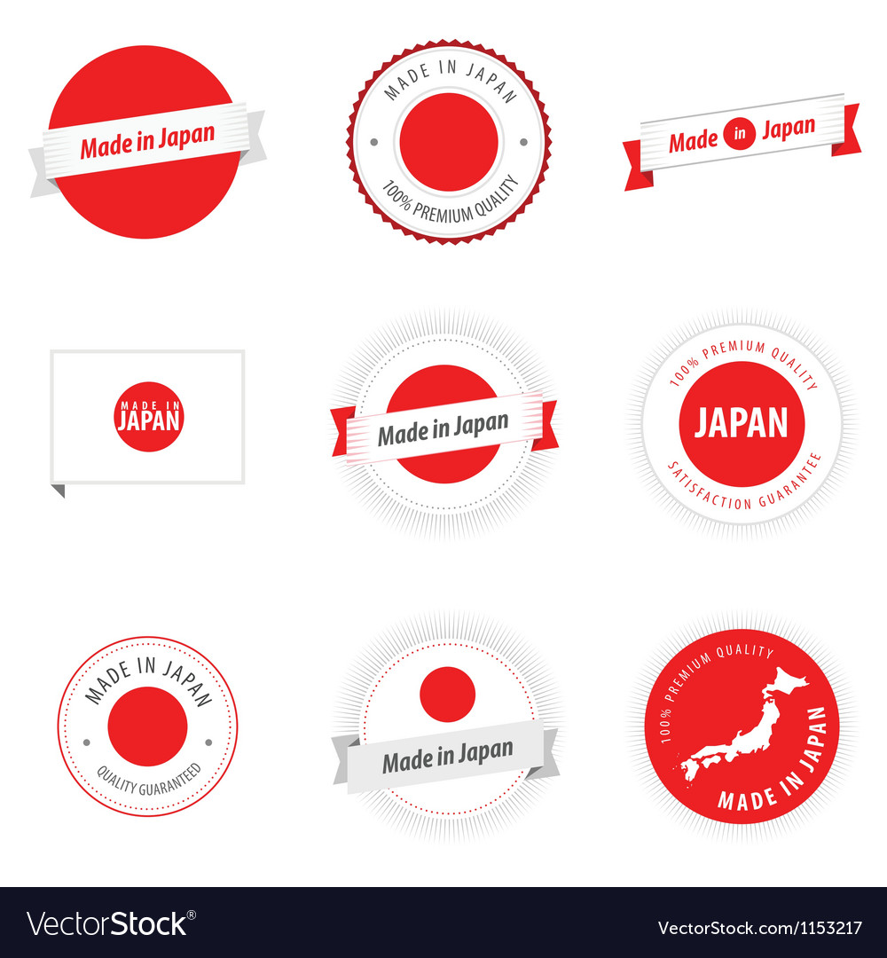 Made in Japan labels badges and stickers Vector Image