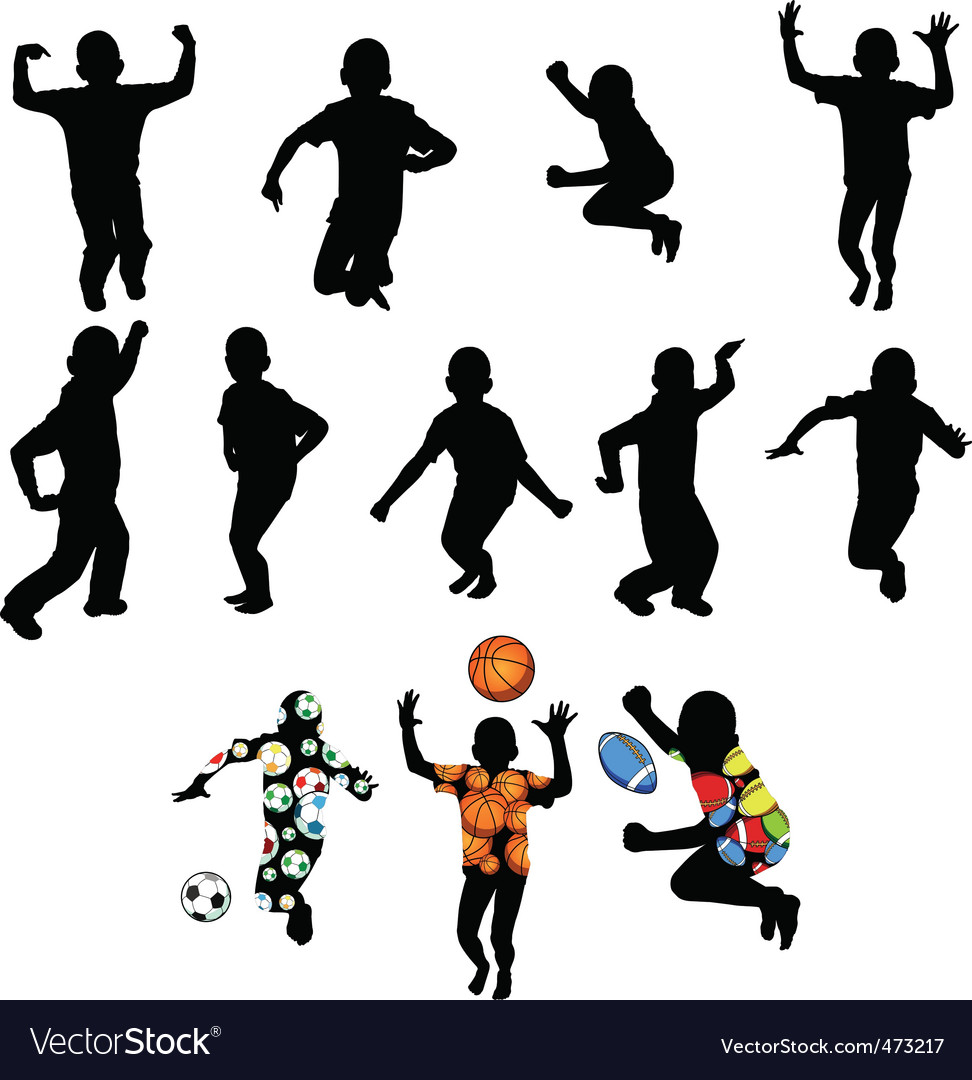 Silhouettes of children vector image
