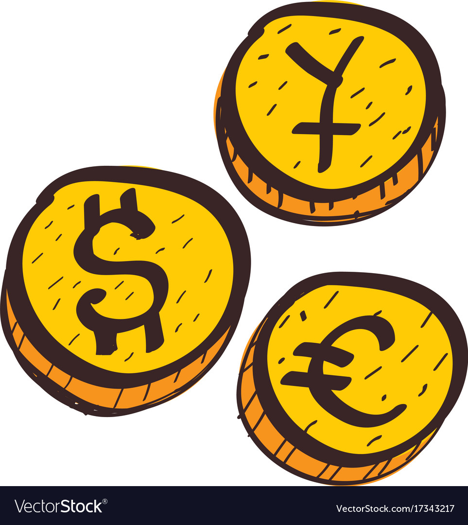 Coins with symbols of foreign currency colored vector image coins with symbols of foreign currency colored vector image buycottarizona