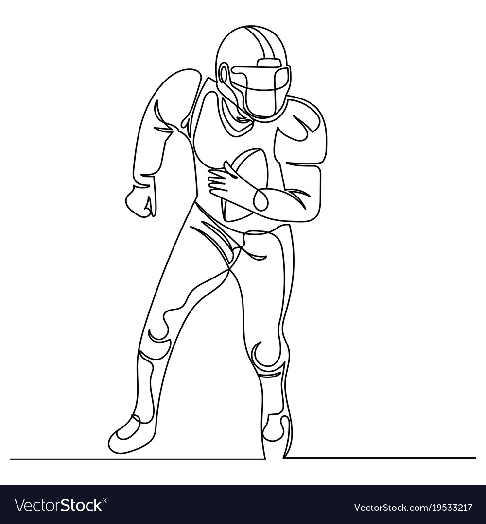 Continuous line drawing american football player vector image