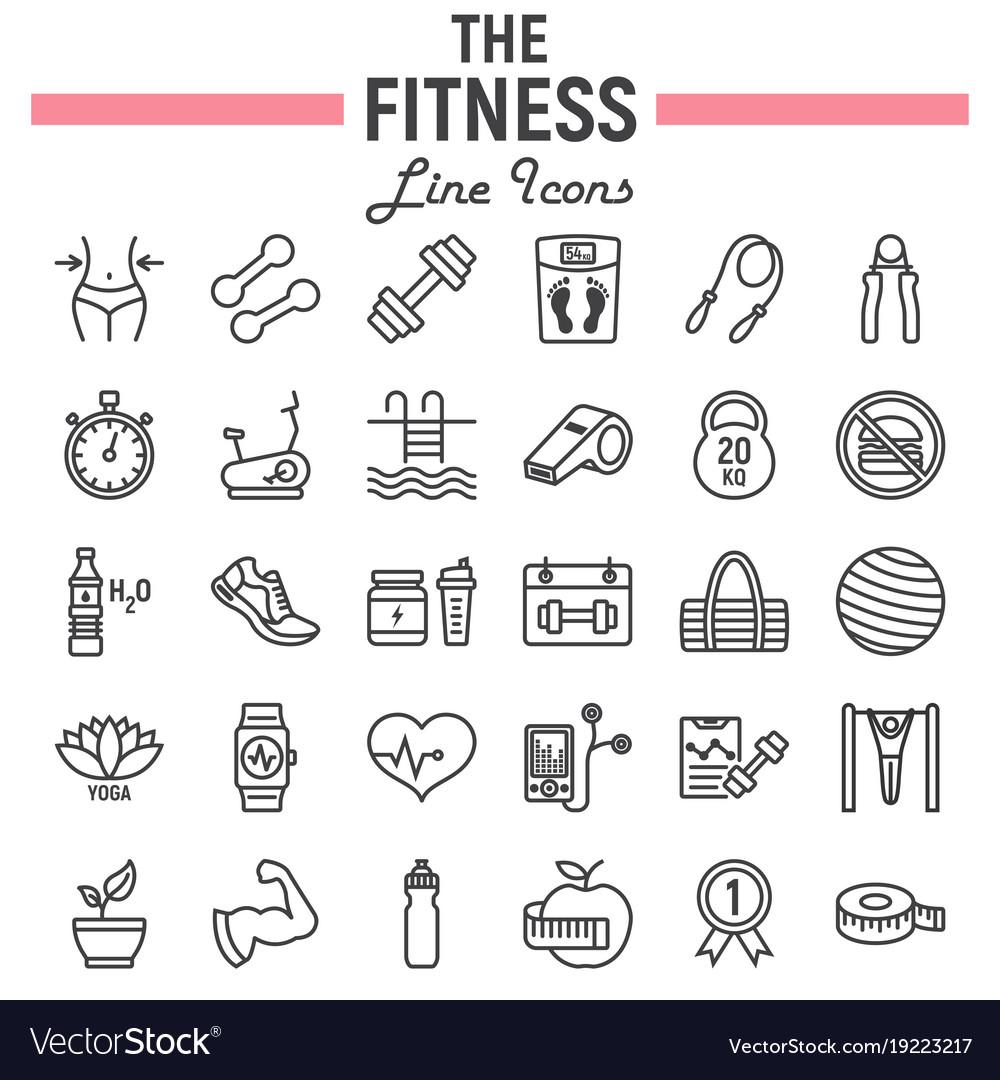 Fitness line icon set sport symbols collection vector image fitness line icon set sport symbols collection vector image biocorpaavc