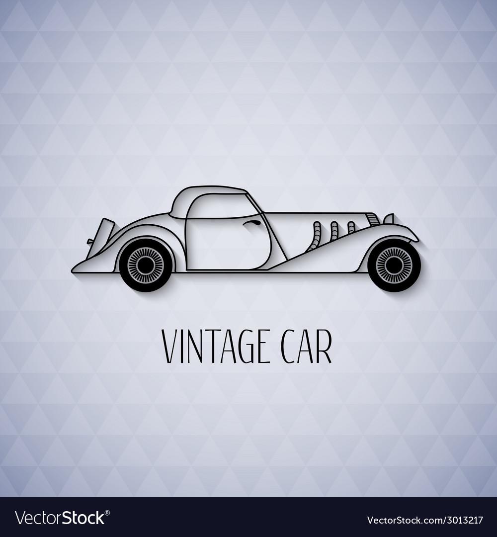 Retro cabriolet sport car vintage outline style vector image
