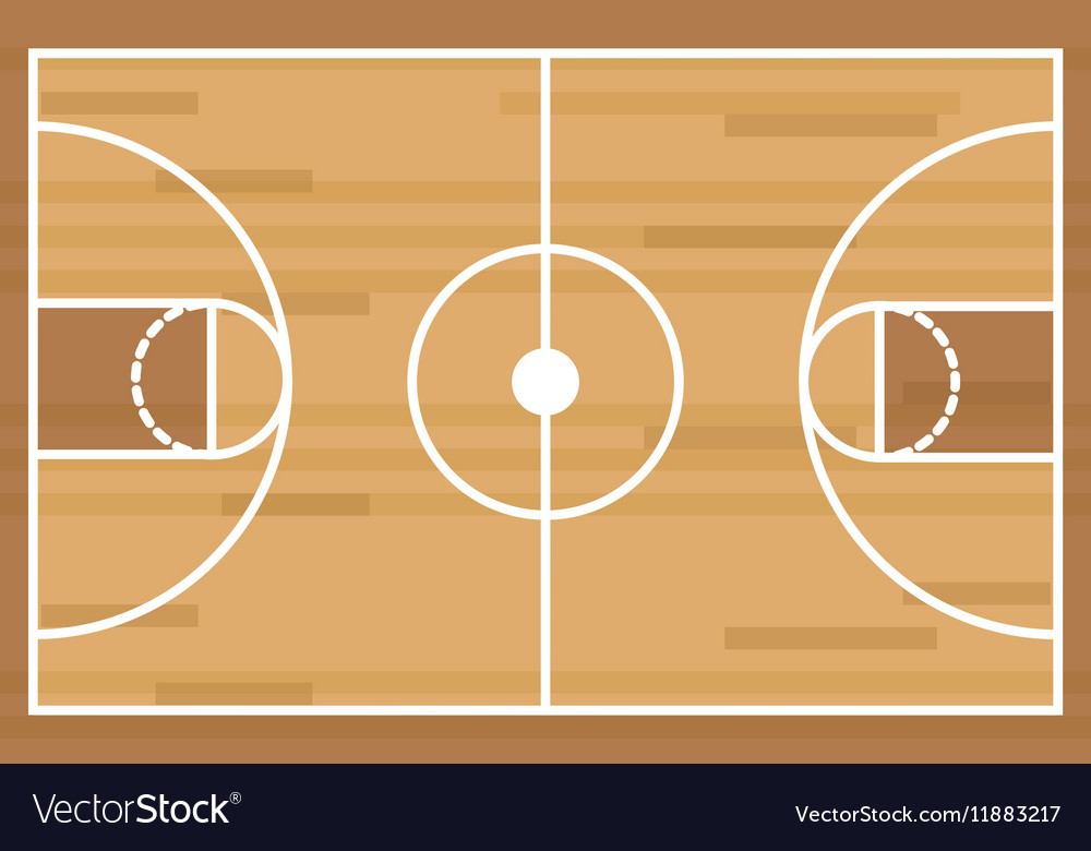 Silhouette colorful with basketball field vector image