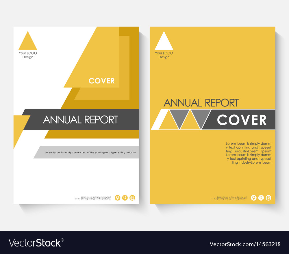 Yellow marketing cover design template for annual vector image