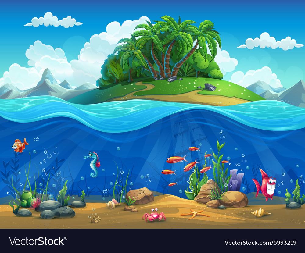 Cartoon underwater world with fish plants island vector image