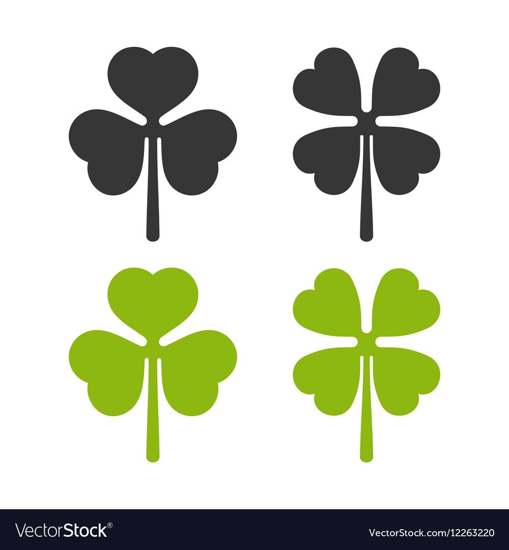 Clover Leaf Icons Set Irish Symbol vector image