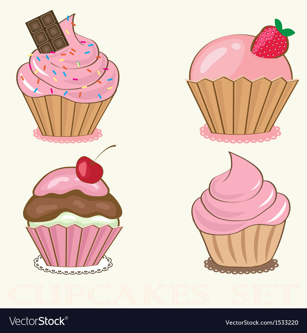Set Cute background with small cupcake vector image