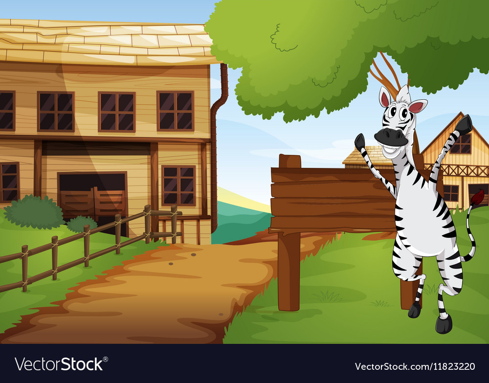 Zebra in the western old town vector image