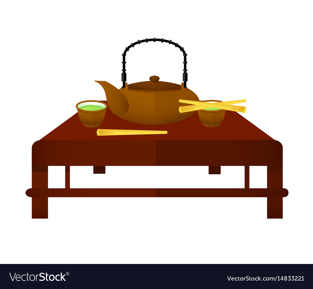Ceremonial chinese tea elements concept vector image