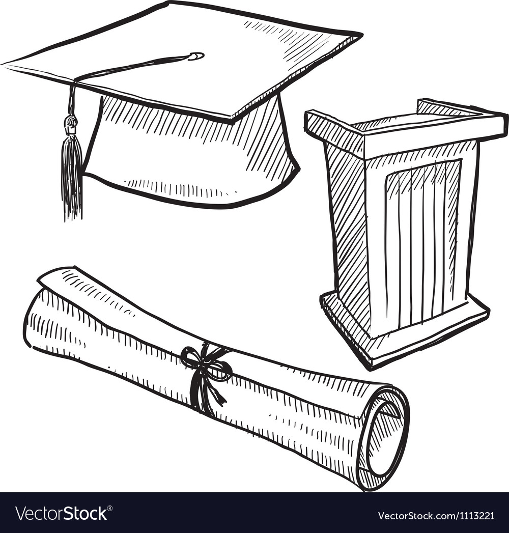 Doodle graduation cap diploma scroll vector image