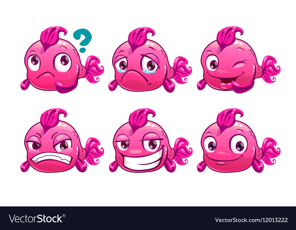 Funny cartoon pink fish character vector image