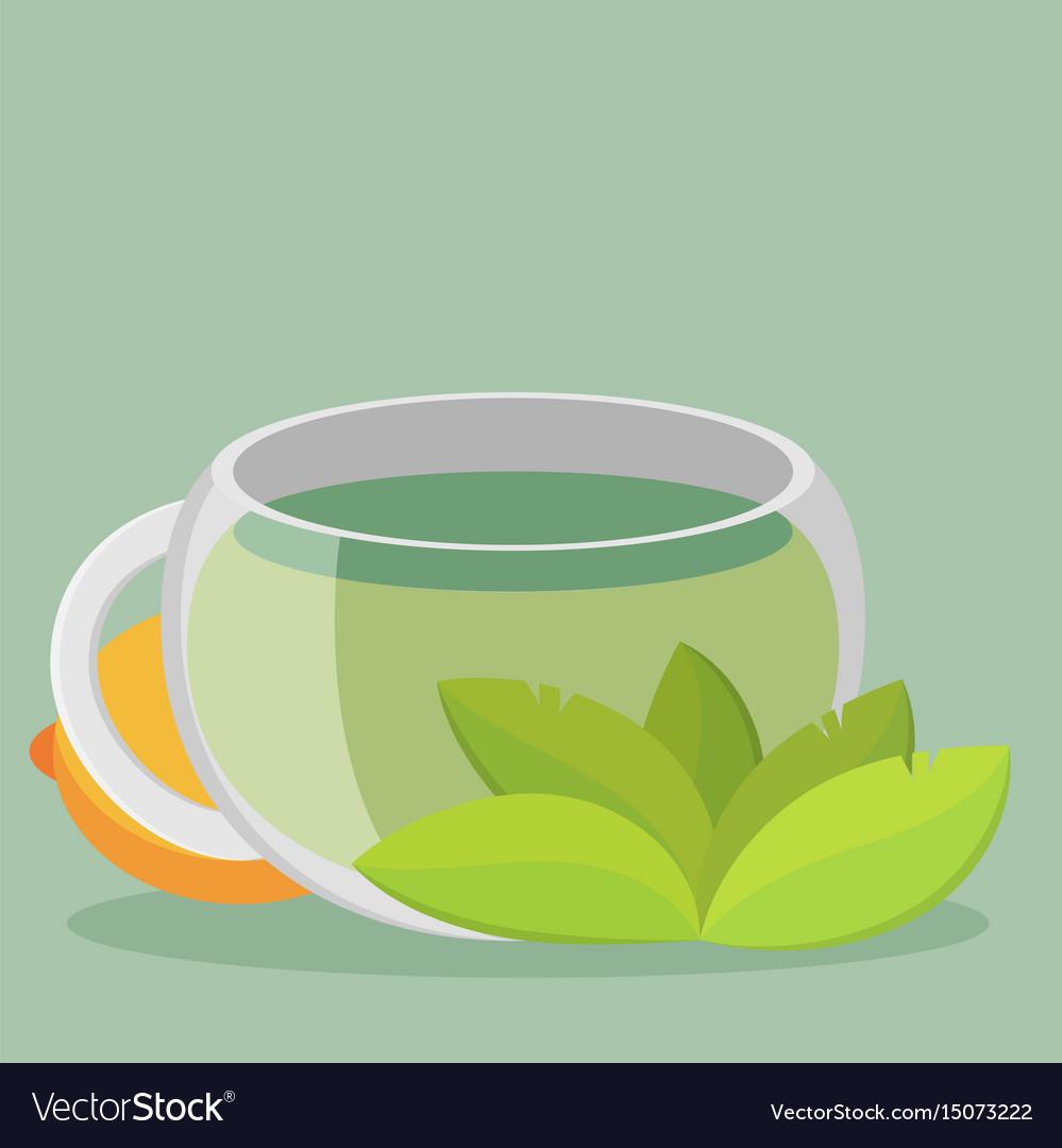 Green tea with lemon flat vector image
