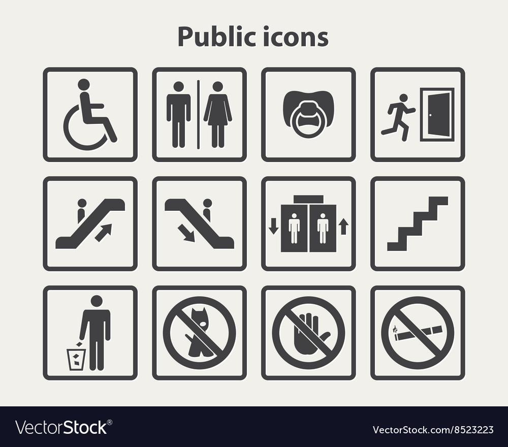 Public information icons set vector image