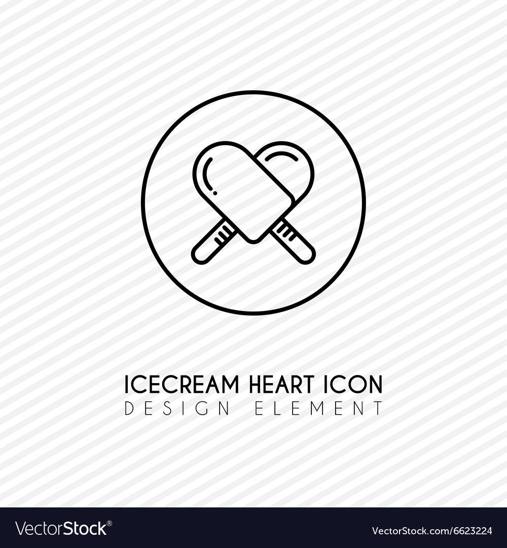 Outline ice cream heart icon vector image