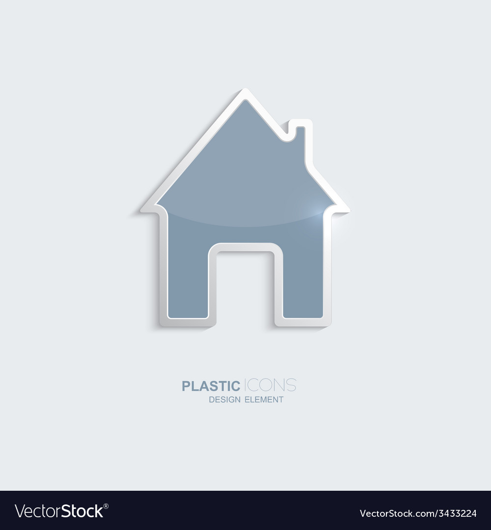 Plastic icon house symbol vector image