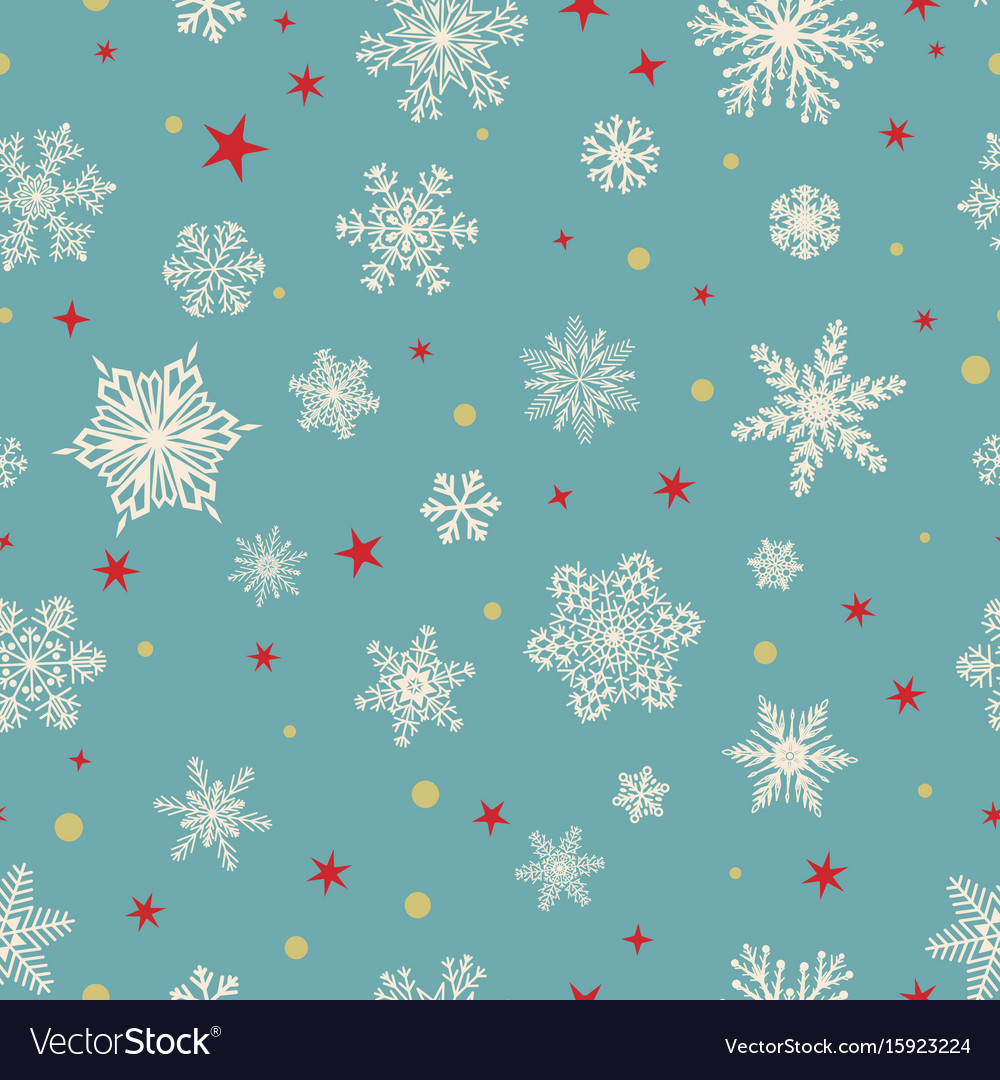 Seamless pattern of snowflakes white on light blue vector image