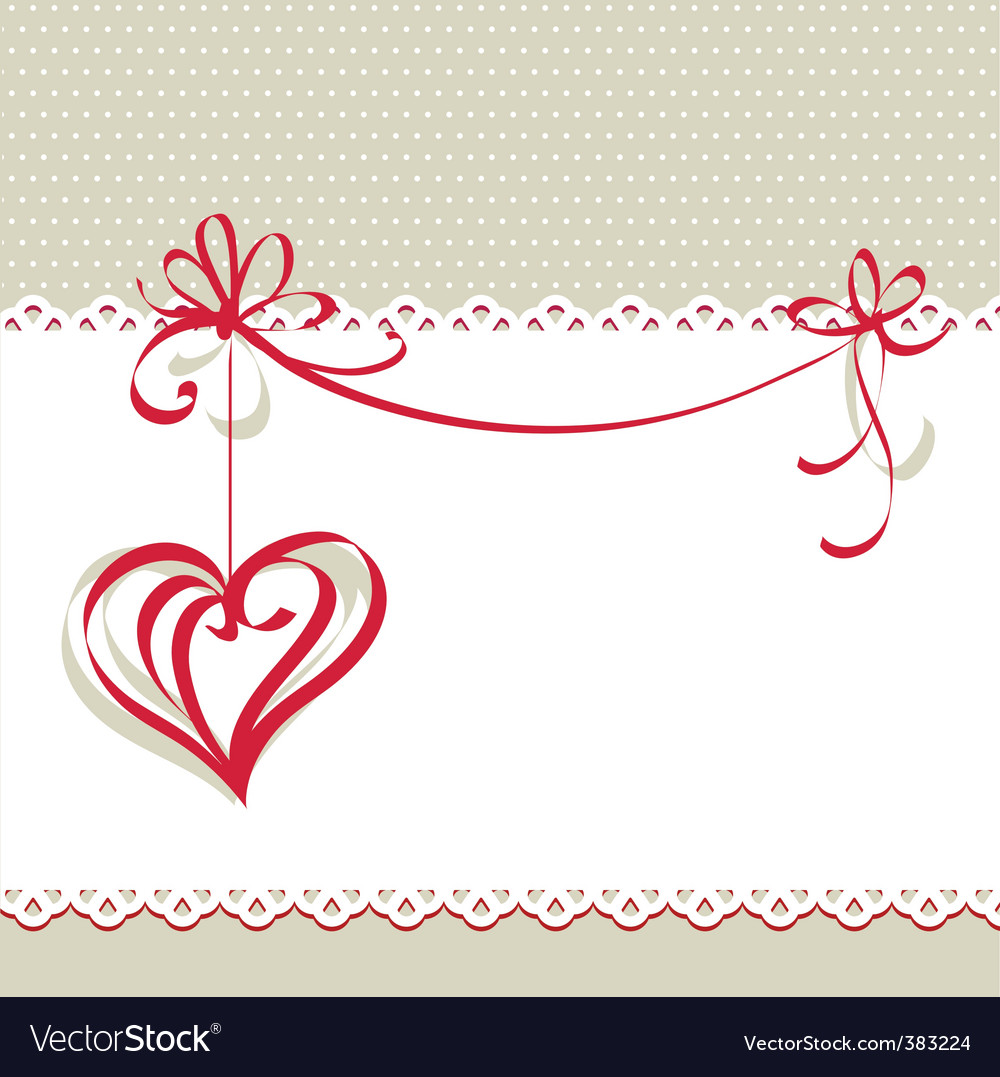 Valentines day card with heart vector image