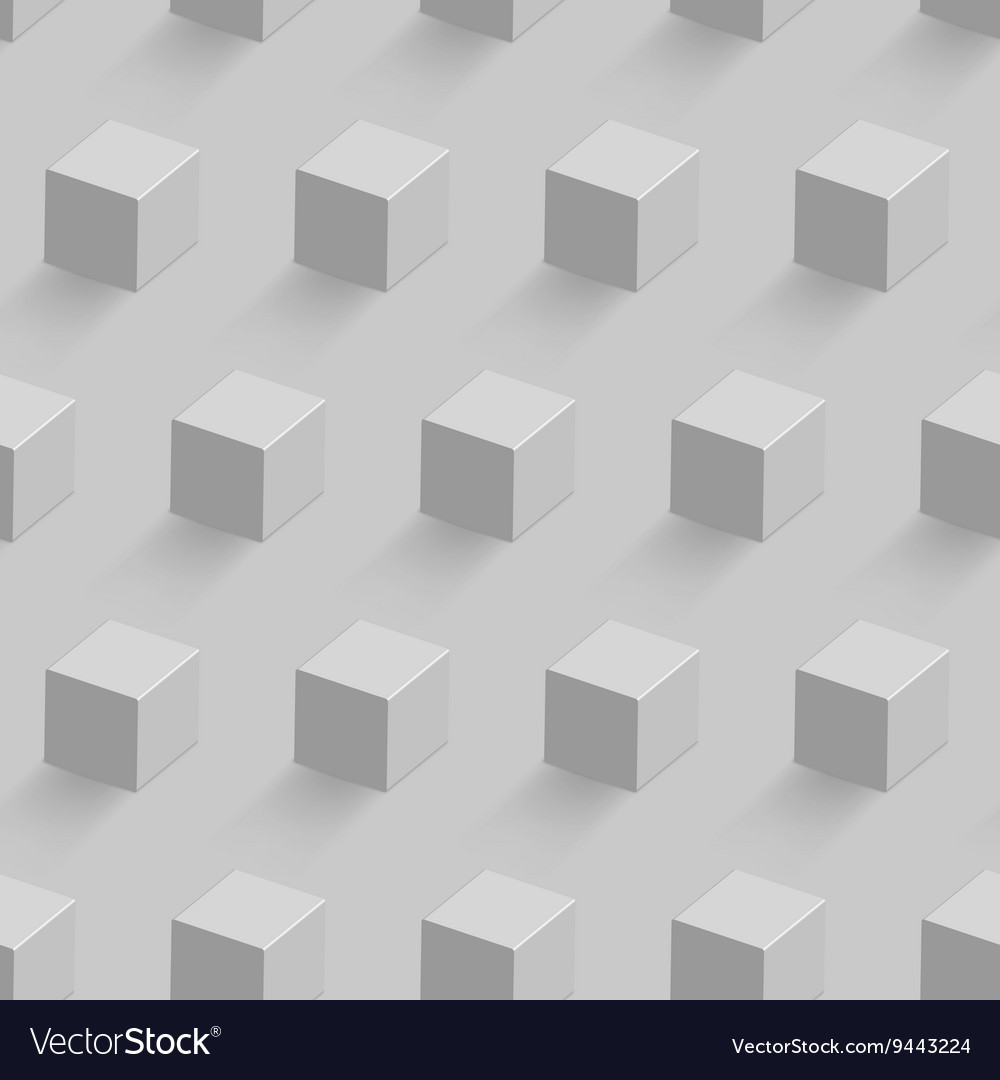 White cube seamless pattern vector image
