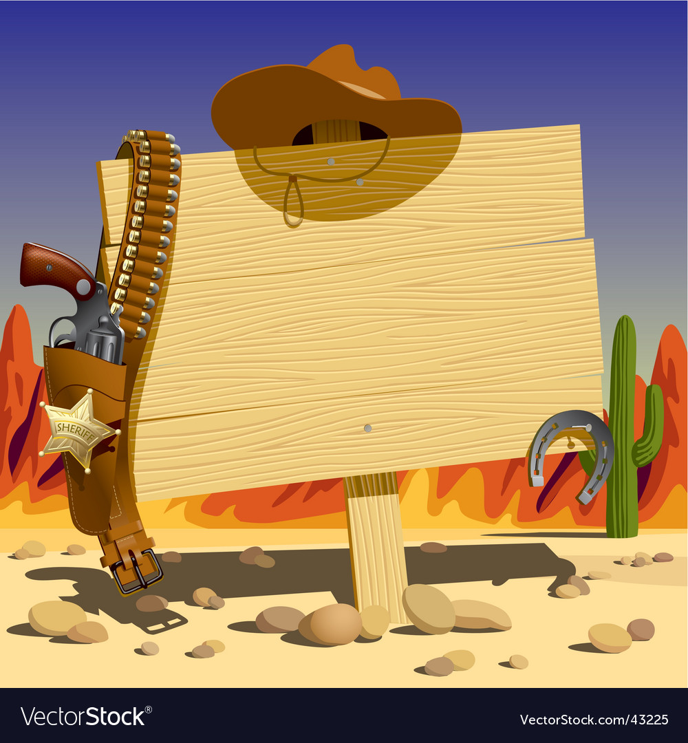Sign in the wild west vector image