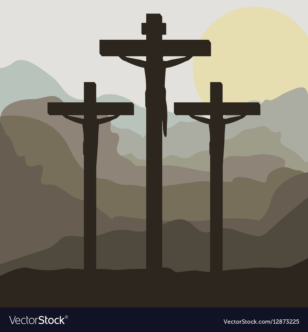 Scene sunset with crucifix in hill vector image