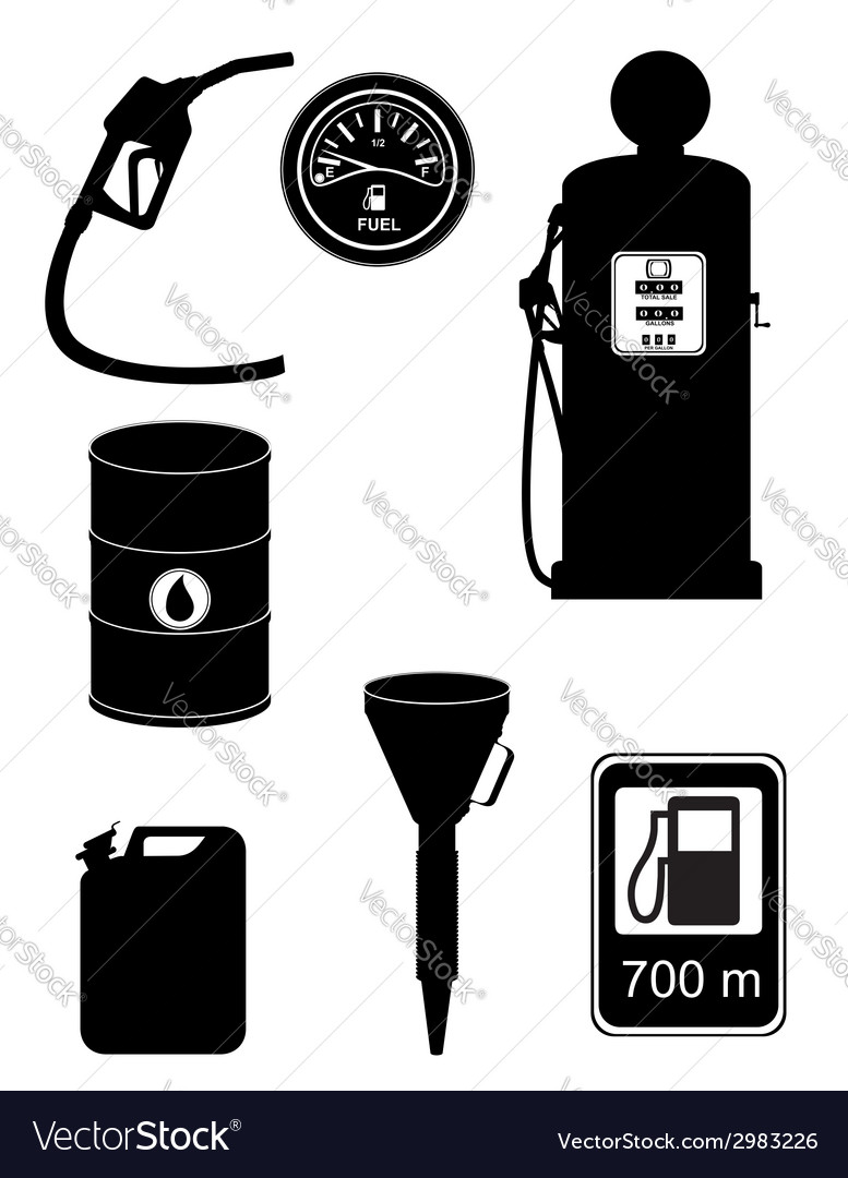 Black silhouette fuel set icons vector image