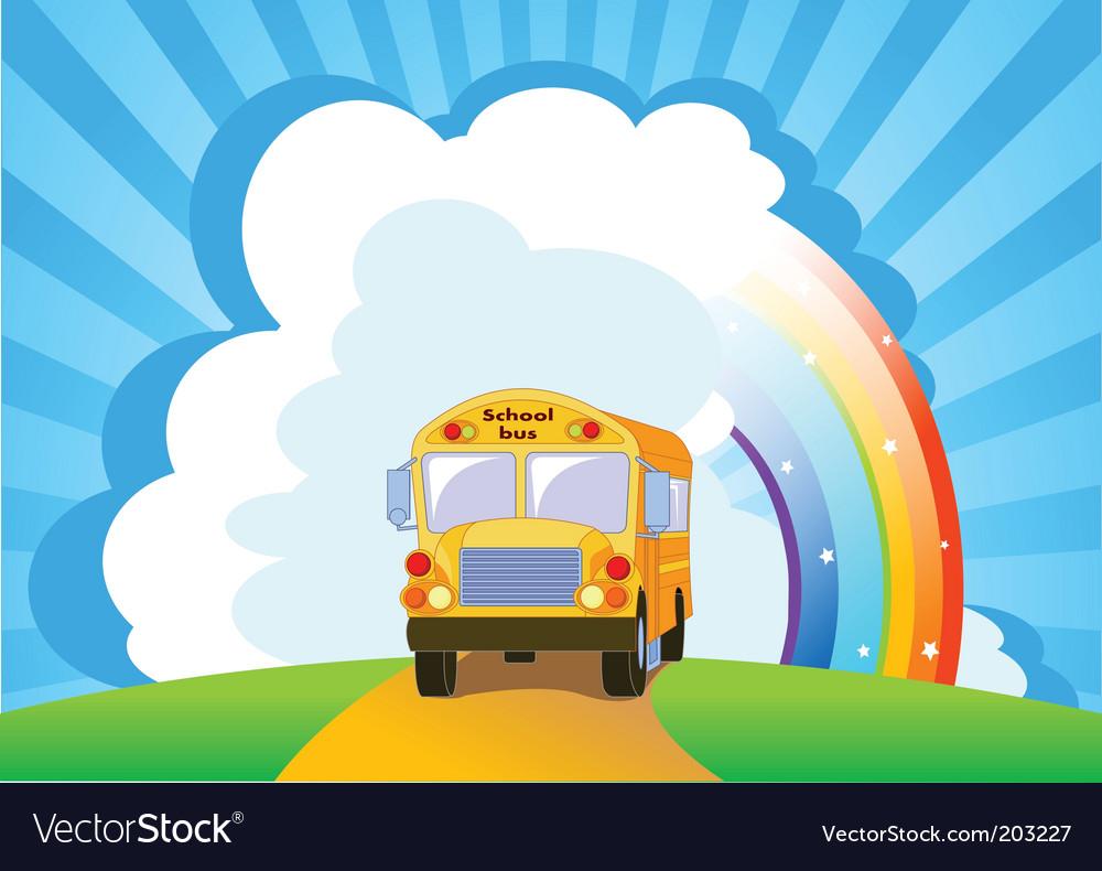 Yellow school bus background vector image