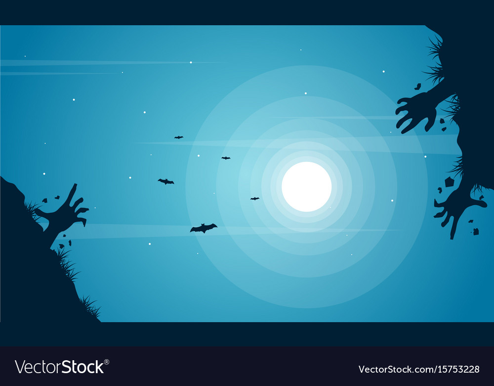 Halloween night with zombie and bat background vector image