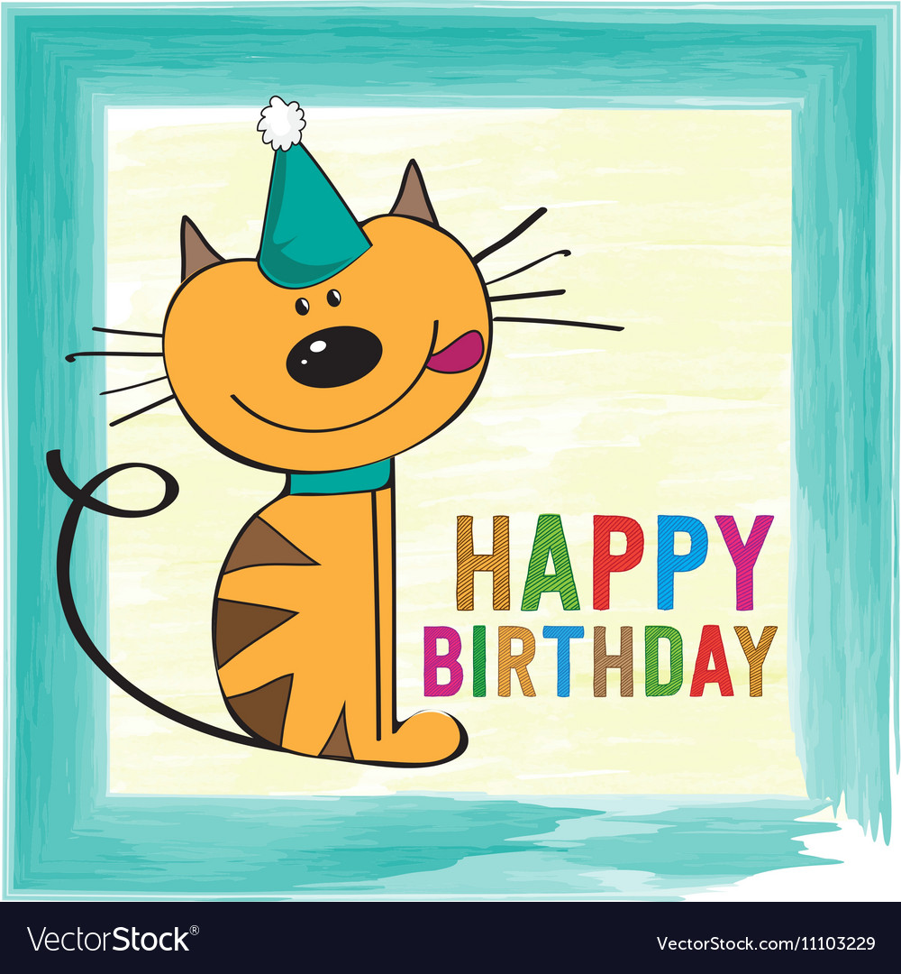 Childish birthday card with funny little cat vector image bookmarktalkfo Images