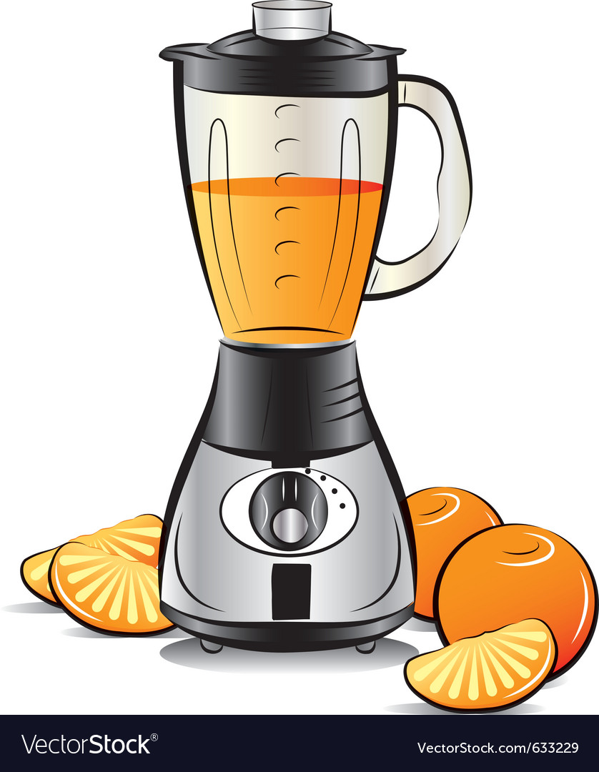 Drawing color kitchen blender with orange juice vector image