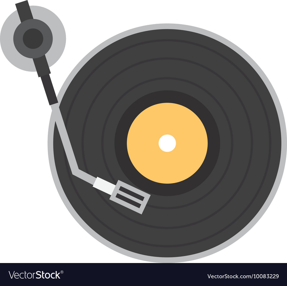 Long play disk player icon vector image