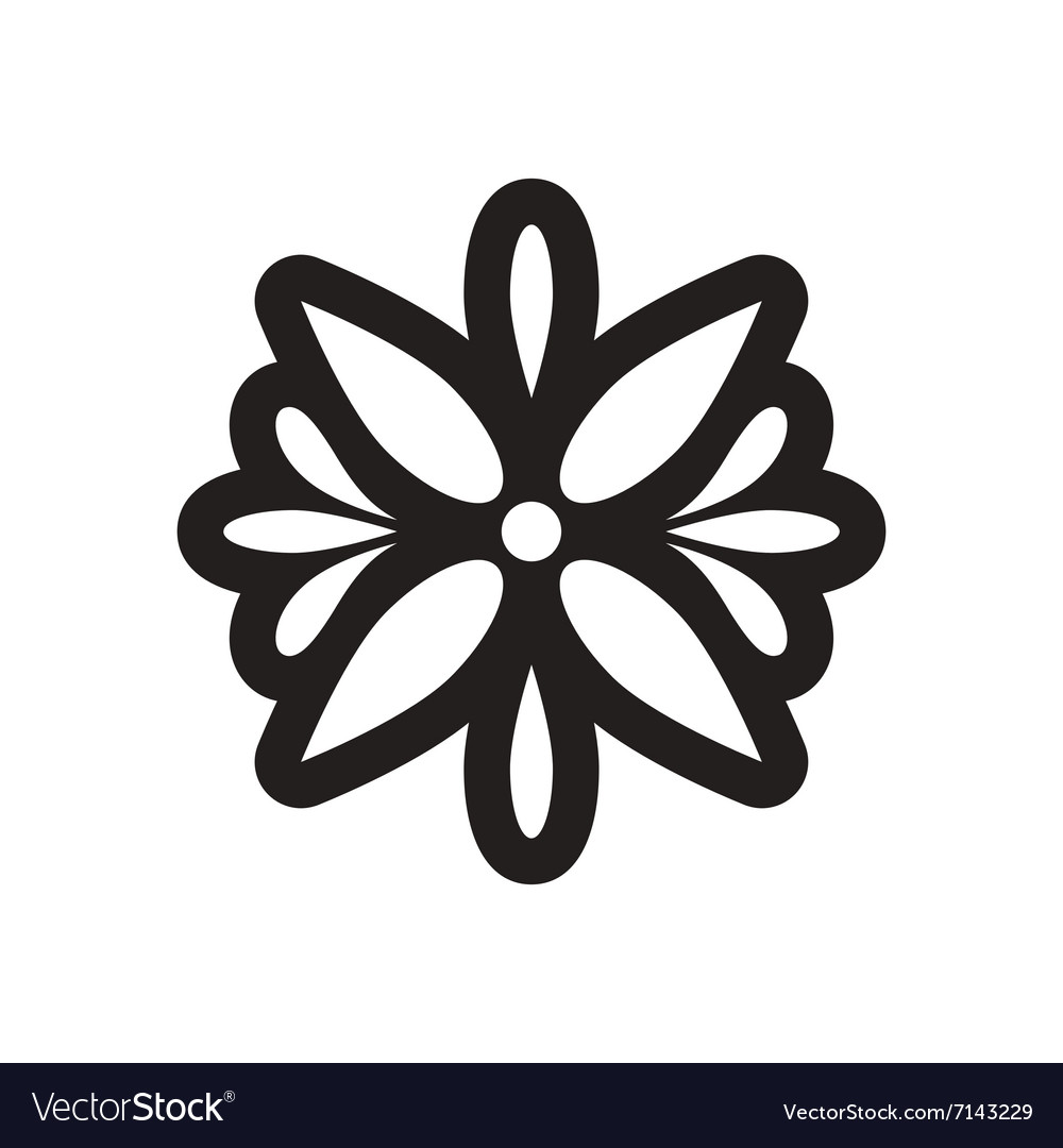 Style black and white icon Arabic flower logo