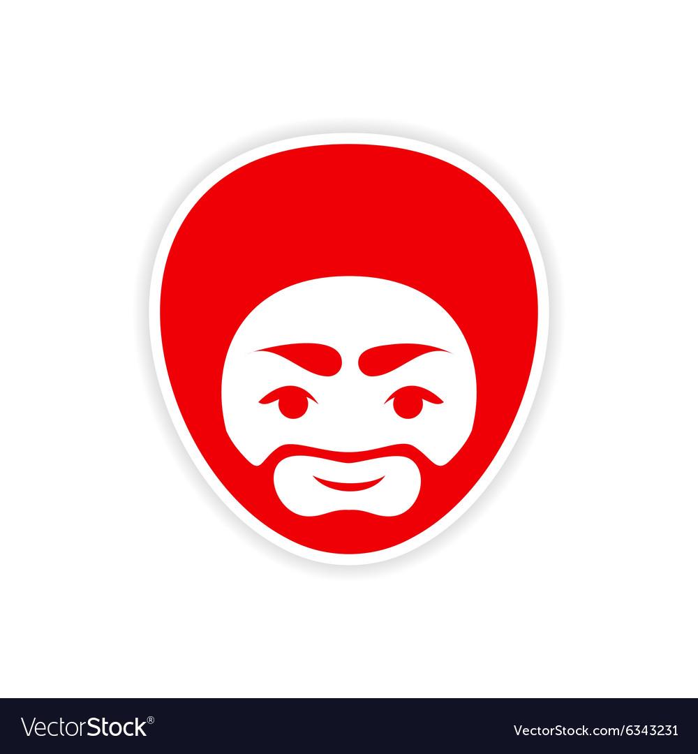 Paper sticker Indian man on white background