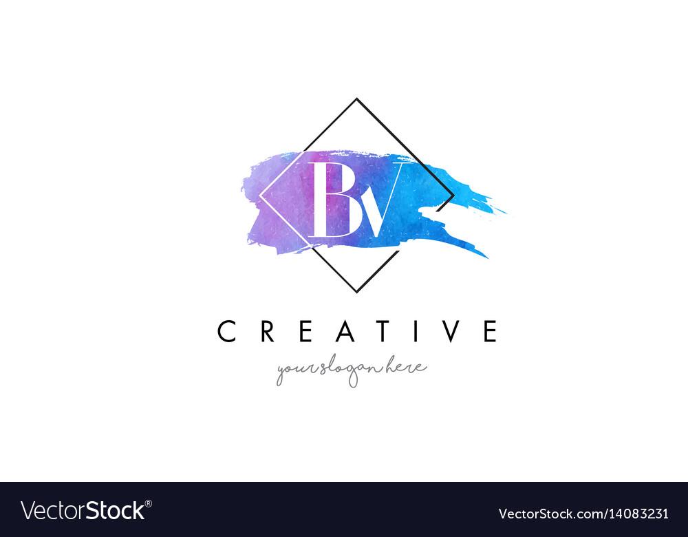Bv artistic watercolor letter brush logo vector image