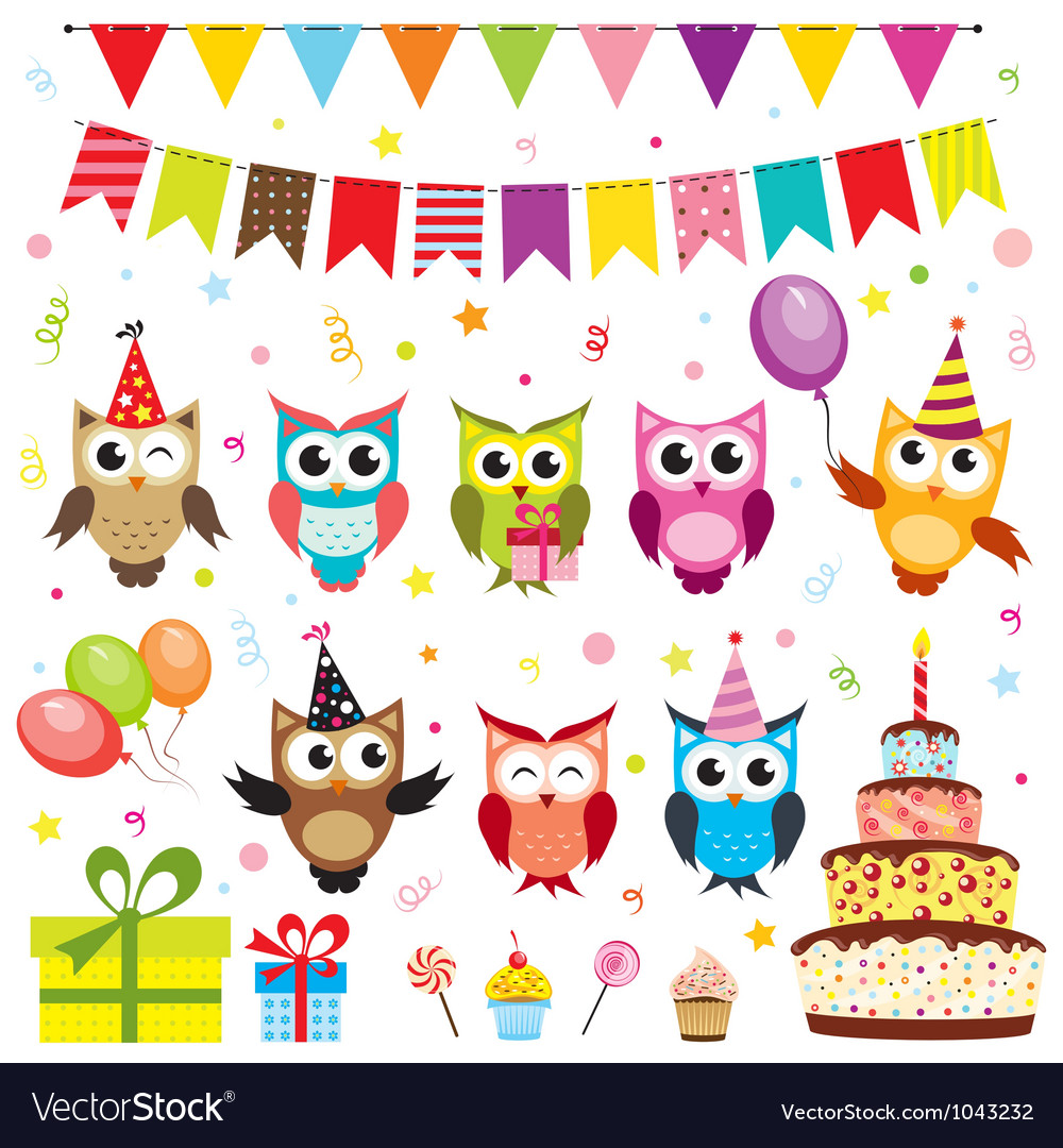 Set of birthday party elements with owls Vector Image
