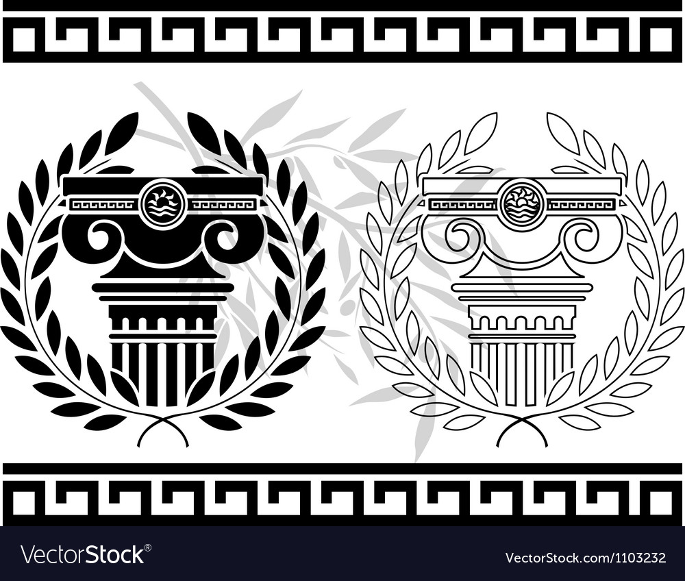 Ionic columns with wreaths stencil vector image