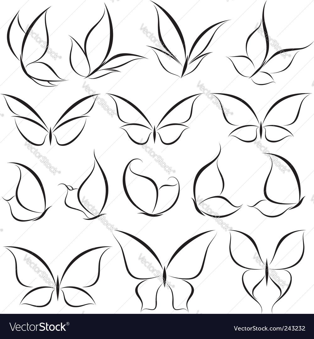 Butterflies elements vector image